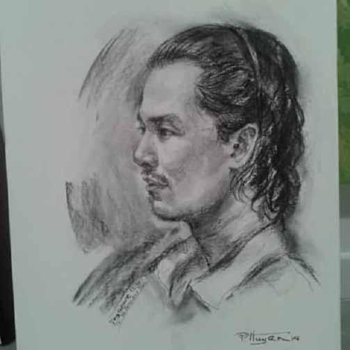 Bức tranh vẽ bằng chì của anh thanh niên