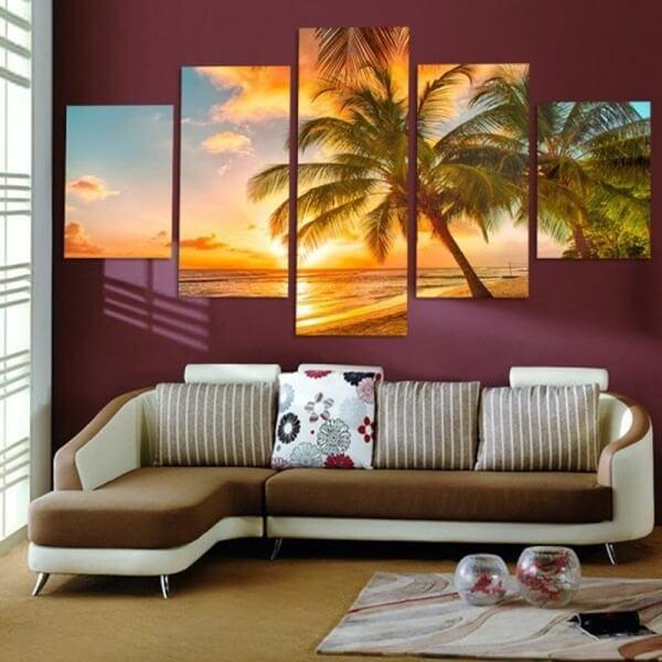 Tranh phong cảnh biển hoàng hôn và cây dừa