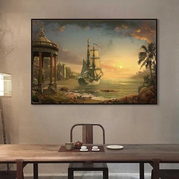 Tranh phong cảnh biển và thuyền buồm lúc bình minh