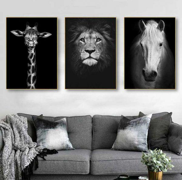 Tranh động vật hươu cao cổ sư tử ngựa