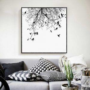 Tranh in canvas đàn chim và nhành cây