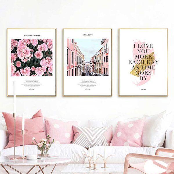 Tranh in canvas hoa hồng và chữ treo phòng khách
