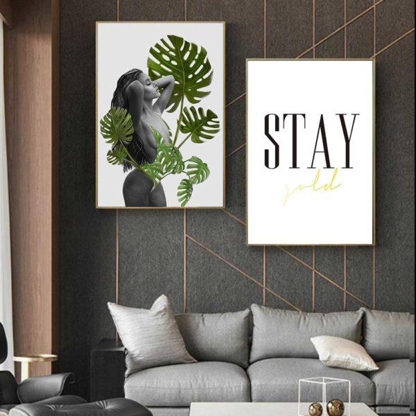 Tranh cô gái với những chiếc lá kết hợp chữ stay gold treo phòng khách
