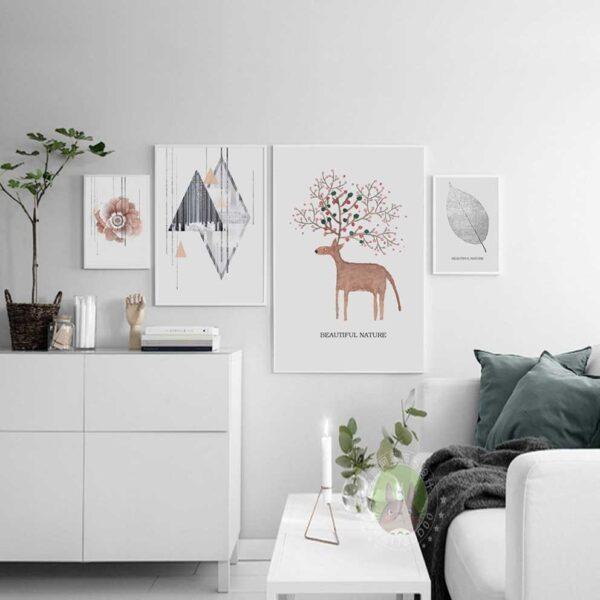 Tranh scandinavian trừu tượng treo phòng khách