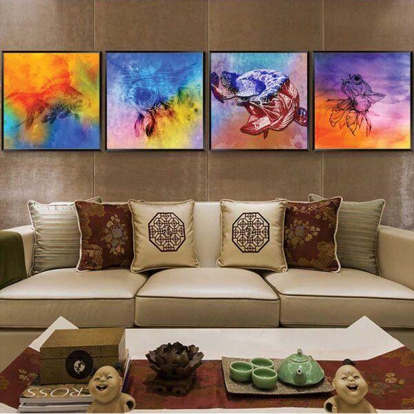 Tranh cá trừu tượng nhiều màu sắc treo phòng khách