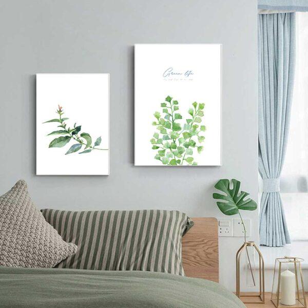 Tranh bộ lá cây nhiệt đới treo phòng ngủ