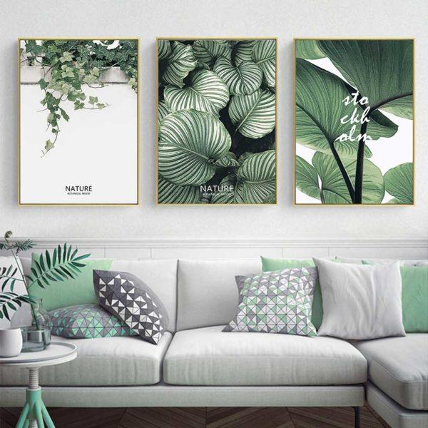 Tranh bộ lá cây nhiệt đới treo phòng khách