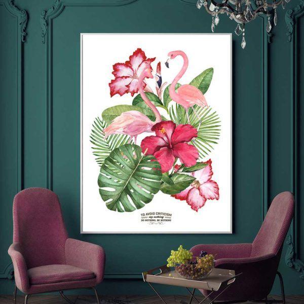 Tranh đôi chim hồng hạc và hoa lá cây nhiệt đới treo phòng khách