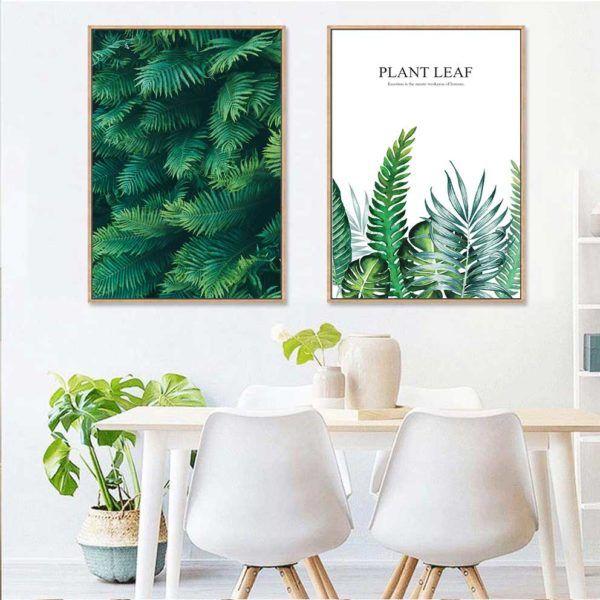 Tranh lá cây nhiệt đới, lá dương xỉ treo phòng ăn