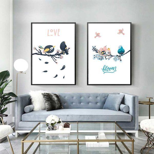Tranh chim vẽ hoạt hình dễ thương treo phòng khách