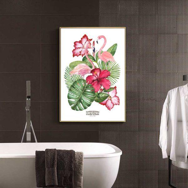 Tranh đôi chim hồng hạc và hoa lá cây nhiệt đới treo nhà vệ sinh