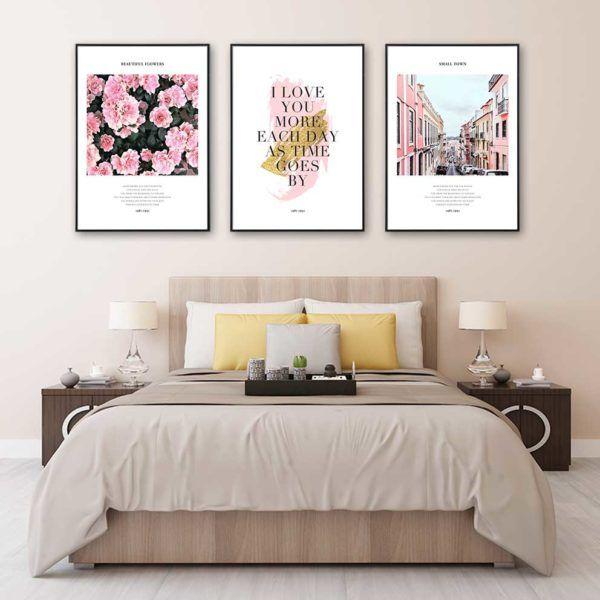 Tranh in canvas hoa hồng và chữ treo phòng ngủ