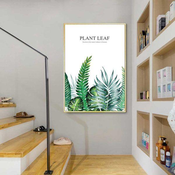 Tranh lá cây nhiệt đới, lá dương xỉ treo cầu thang
