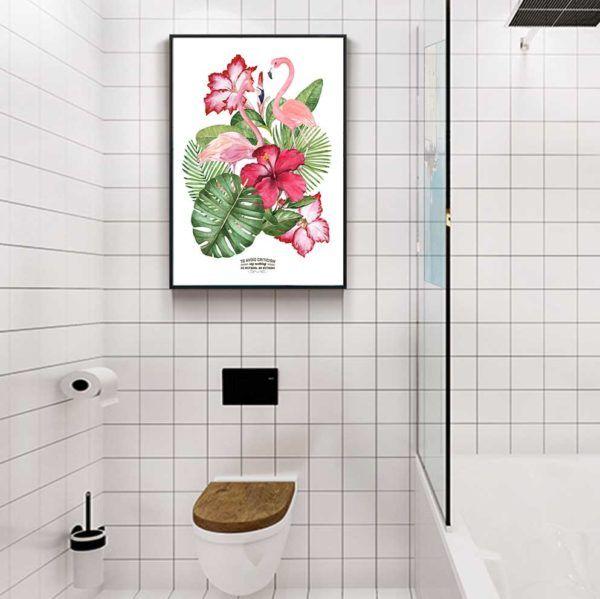 Tranh đôi chim hồng hạc và hoa lá cây nhiệt đới treo toilet