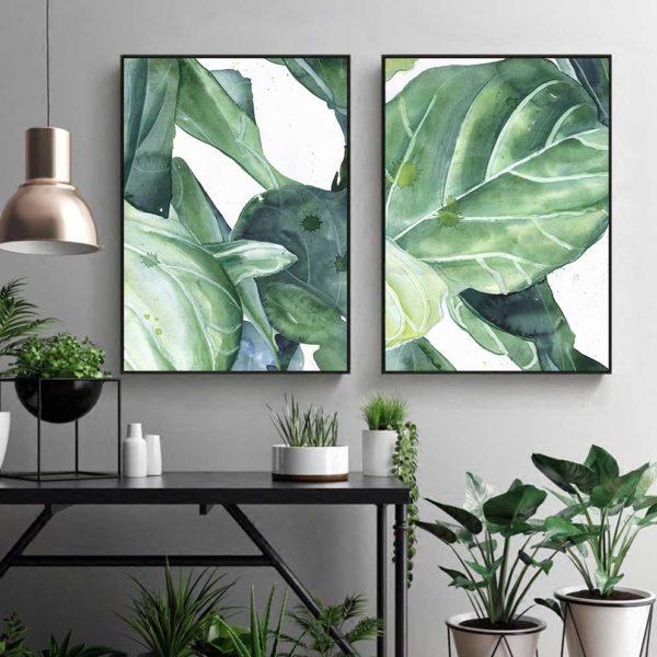 tranh lá cây nhiệt đới treo phòng khách