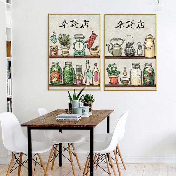 Tranh chủ đề nhà bếp treo phòng ăn
