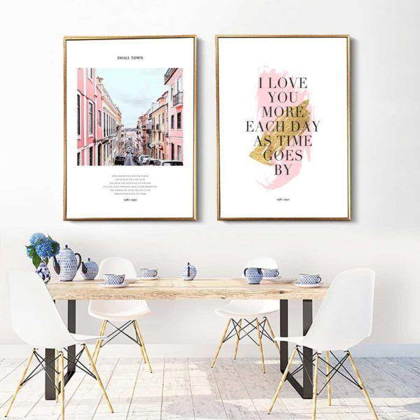 Tranh in canvas hoa hồng và chữ treo phòng ăn