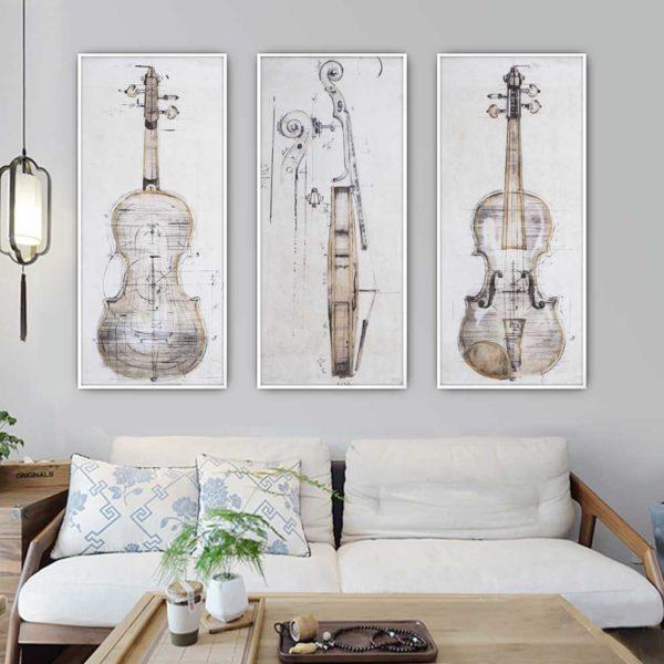 tranh đàn violin treo phòng ngủ