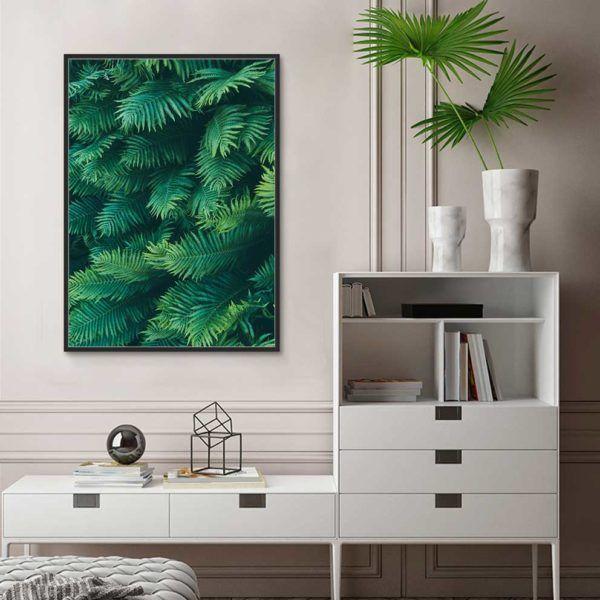 Tranh lá cây nhiệt đới, lá dương xỉ treo phòng ngủ