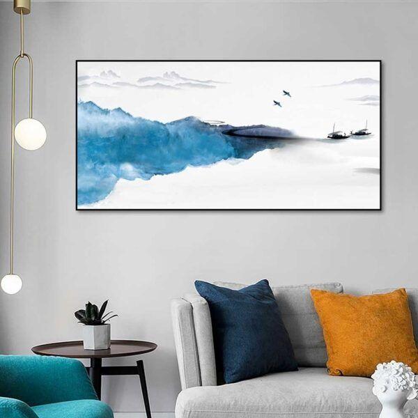 Tranh phong cảnh màu nước trừu tượng treo phòng khách