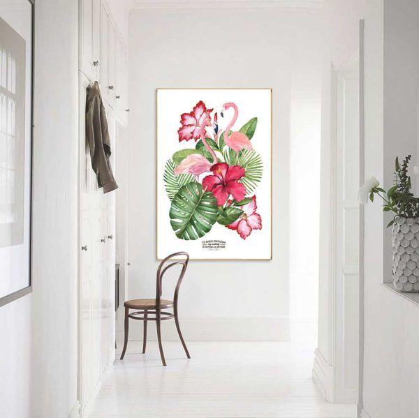 Tranh đôi chim hồng hạc và hoa lá cây nhiệt đới treo lối đi