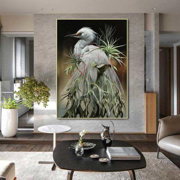 Tranh chim cò và vẹt két treo phòng khách