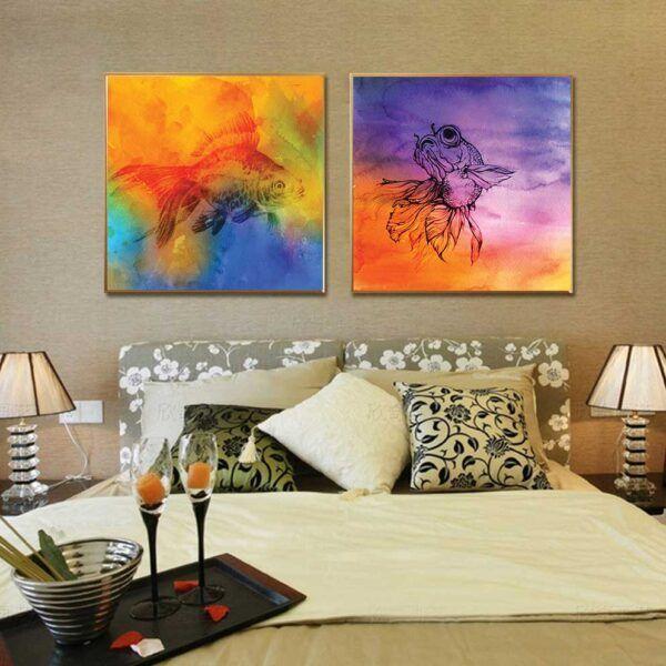 Tranh cá trừu tượng nhiều màu sắc treo phòng ngủ