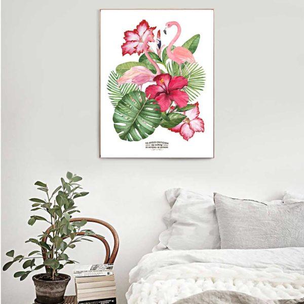 Tranh đôi chim hồng hạc và hoa lá cây nhiệt đới treo phòng ngủ