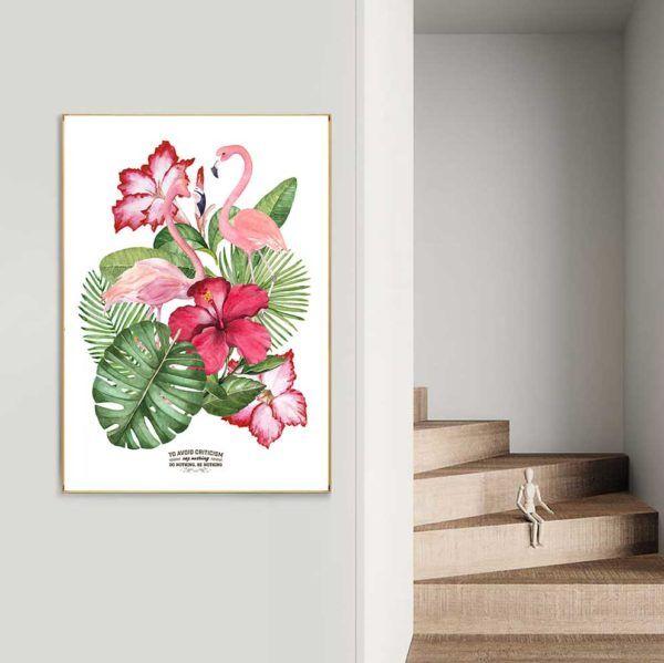 Tranh đôi chim hồng hạc và hoa lá cây nhiệt đới treo cầu thang