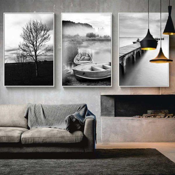 tranh phong cảnh đen trắng treo phòng khách