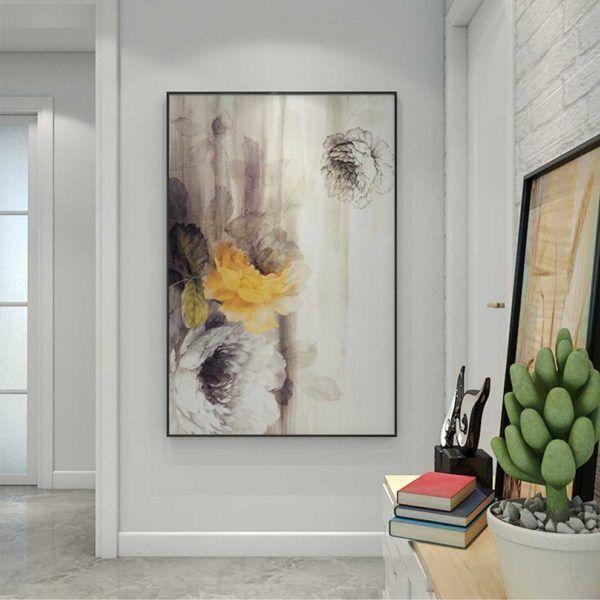 Tranh hoa trừu tượng treo phòng khách