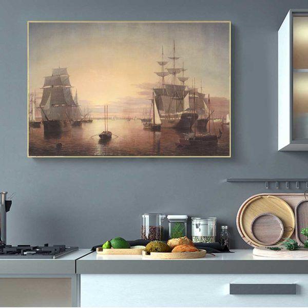 tranh phong cảnh thuyền buồm treo nhà bếp