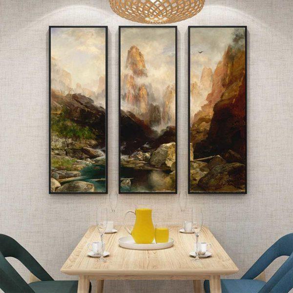 tranh phong cảnh núi đồi treo bàn ăn