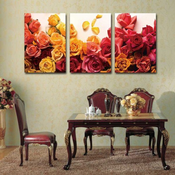 tranh hoa hồng treo bàn ăn