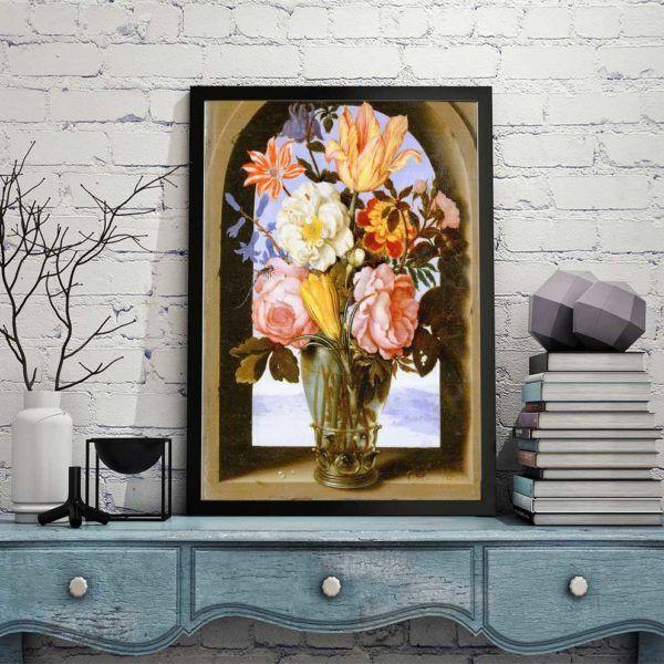 Tranh tĩnh vật hoa Mẫu Đơn treo trên tủ kệ