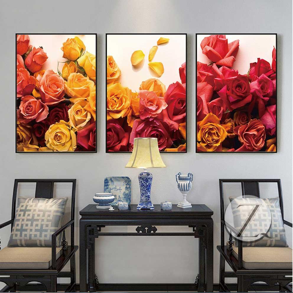 Tranh hoa hồng vàng và đỏ