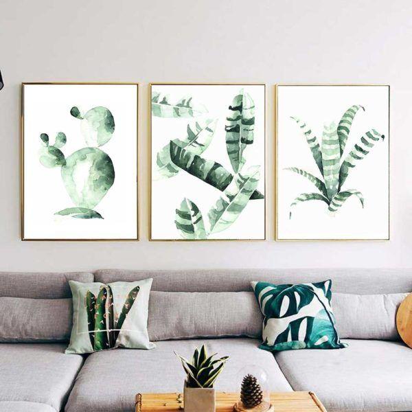 Tranh Bắc Âu Scandinavian lá cây nhiệt đới treo ghế sofa