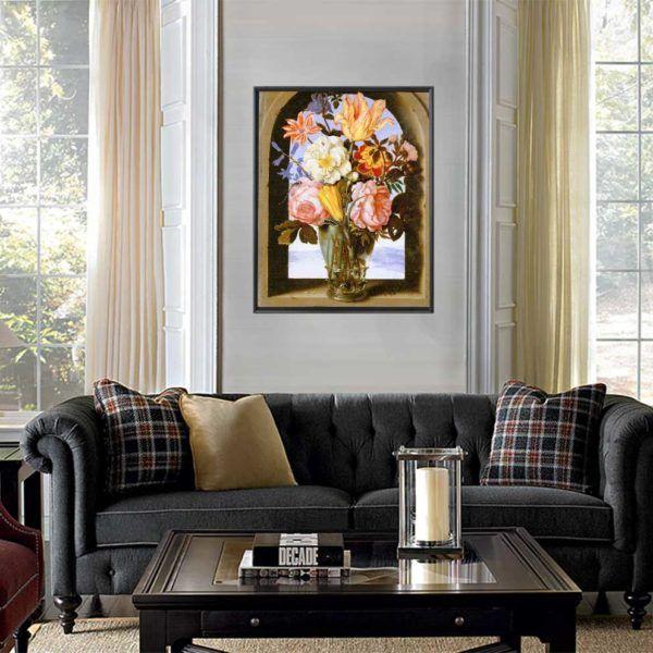 Tranh tĩnh vật hoa Mẫu Đơn treo ghế sofa màu đen