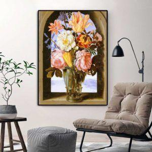 Tranh tĩnh vật hoa Mẫu Đơn treo phòng khách