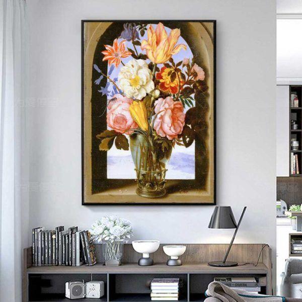 Tranh tĩnh vật hoa Mẫu Đơn treo phòng làm việc
