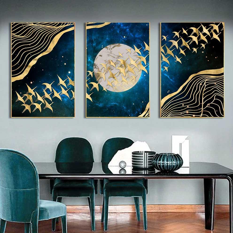 Tranh trừu tượng đàn chim bay qua mặt trăng