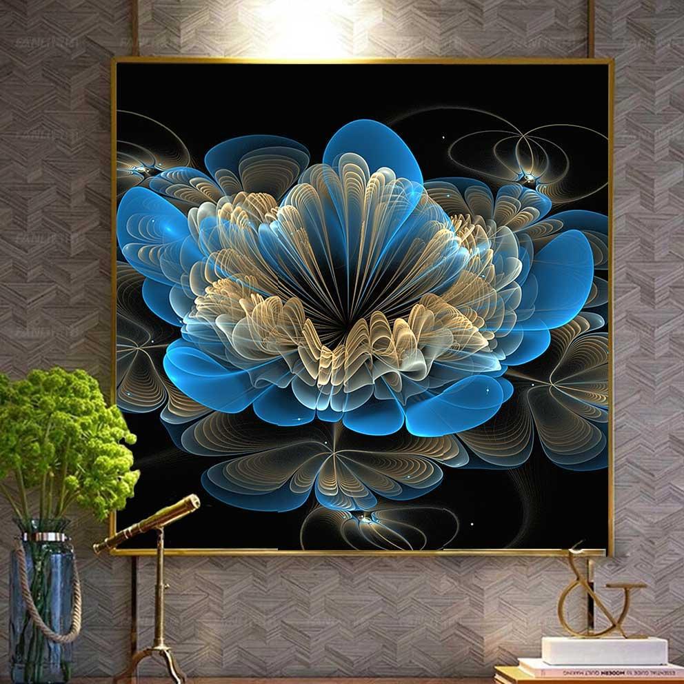 Tranh hoa sen xanh dương trên nền đen trừu tượng