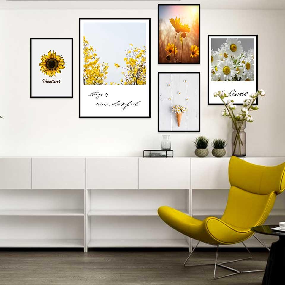 Tranh bộ hoa cúc trắng, hoa hướng dương kết hợp chữ