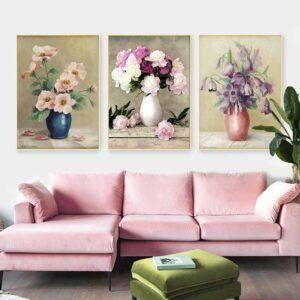 Tranh bộ tĩnh vật 3 bình hoa Anemone hồng, hoa Campanula tím và hoa Peony
