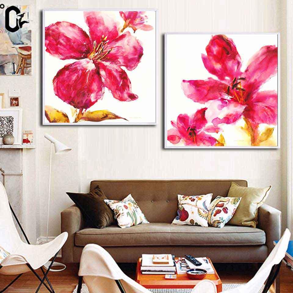 Tranh hoa Cỏ roi ngựa hồng trừu tượng