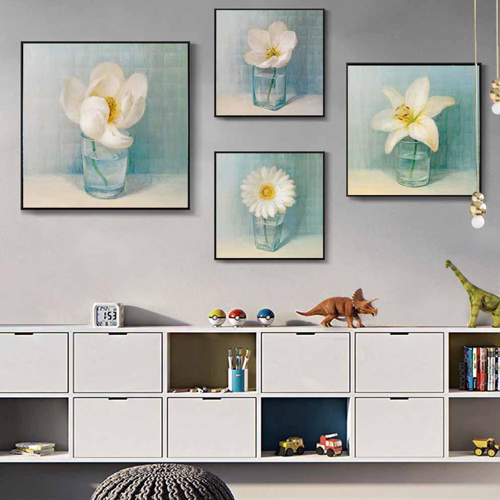 Tranh bông hoa Trà, hoa Cúc và hoa Huệ