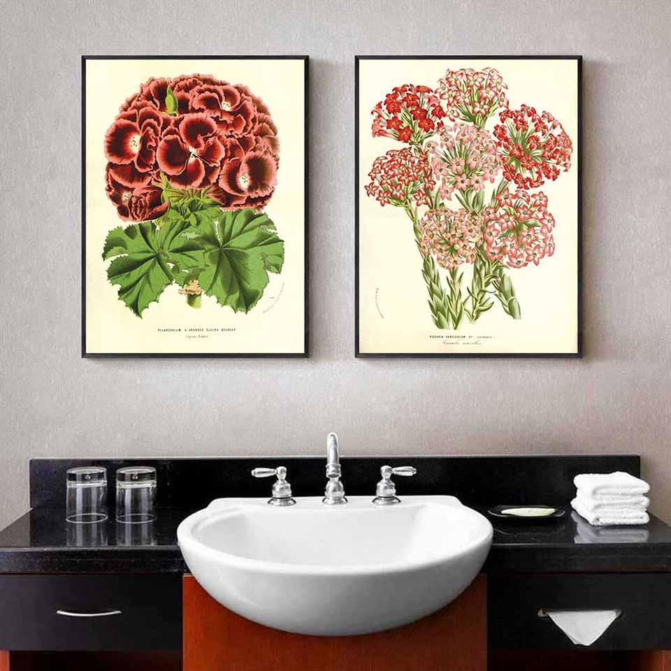 Tranh hoa thiên trúc quỳ đỏ và hoa Phỉ Thúy
