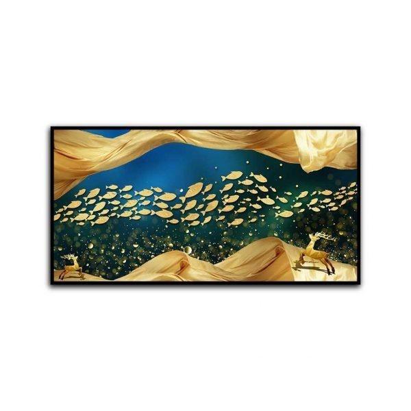 Tranh trừu tượng đàn cá và nai