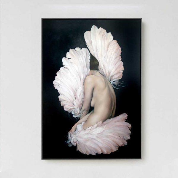 Tranh cô gái khỏa thân và đôi cánh chim