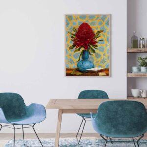 Tranh canvas hoa Waratah - Lucien Henry